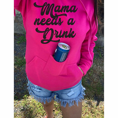 PRE-ORDER* Pink Mama need a Drink Bottle Holder Hoodie