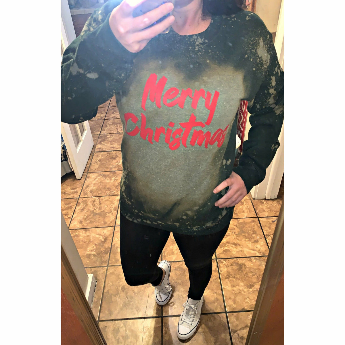 Merry Christmas Distressed Forest Green Sweatshirt