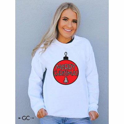 Merry Christmas Stripe Ornament Sweatshirt