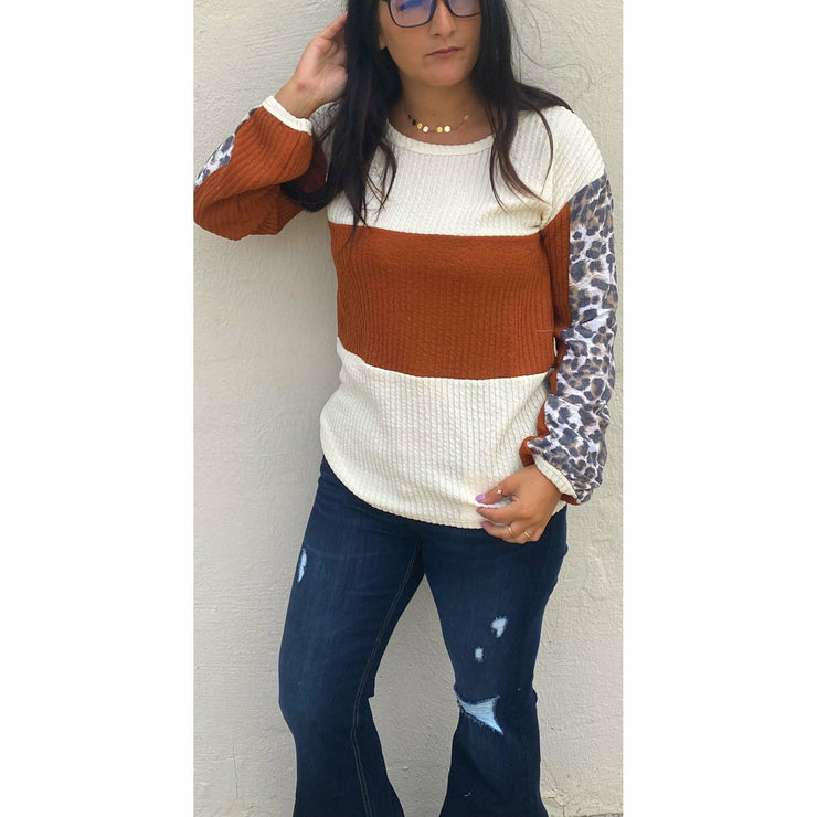 Orange Cheetah Color Black Sweater