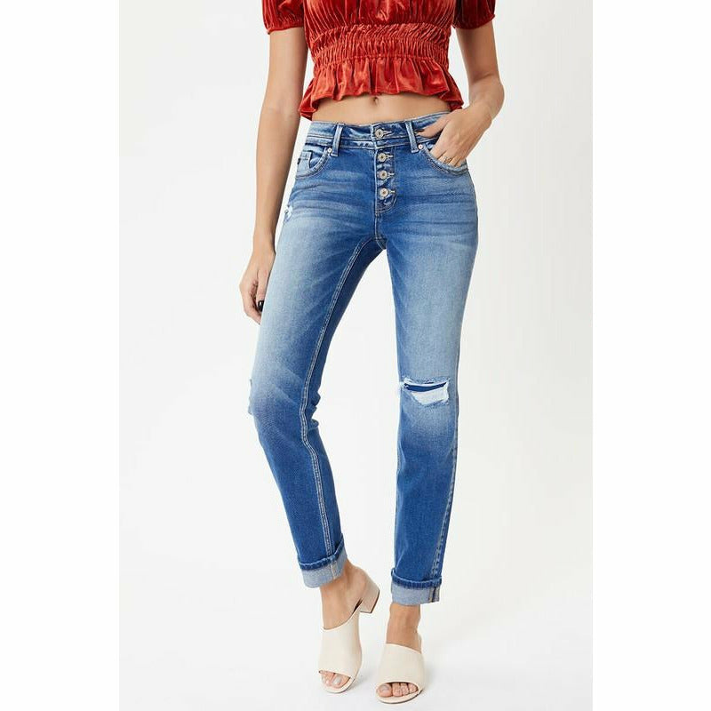 Plus Mid Rise Button Fly Straight Jean Kancan