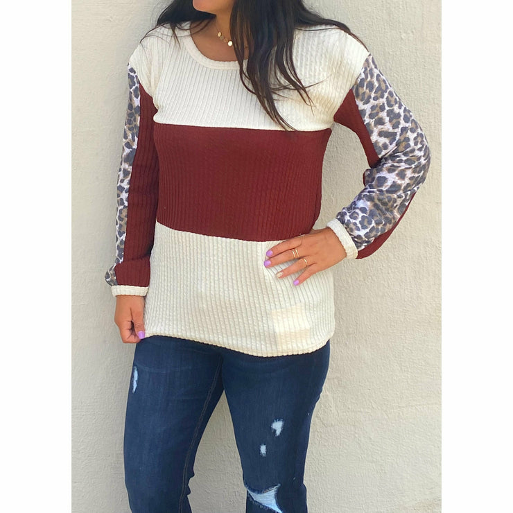 Maroon Cheetah Color Black Sweater