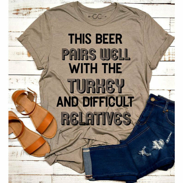 this beer pairs well with the turkey and difficult relatives  tee