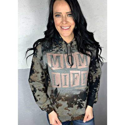 Rose Gold Mom Life Distressed Hoodie