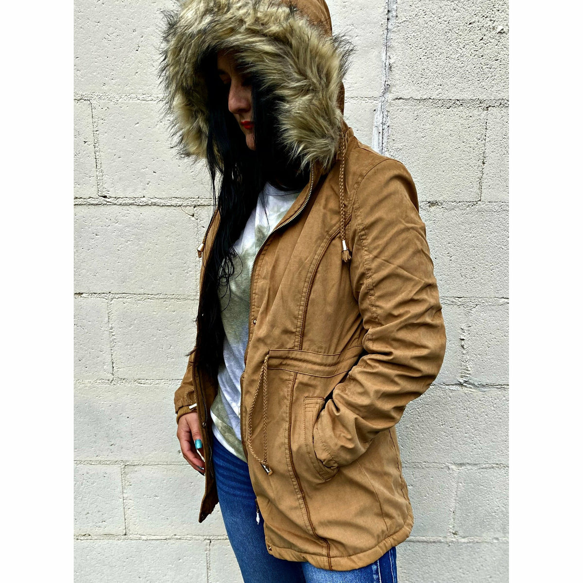 Fur lined Camel Coat