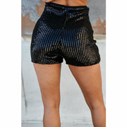 Side Zipper Contrast Satin Sequin Pant