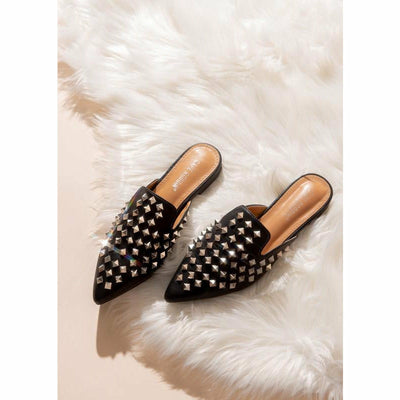 Black Studded Slip on Shoes