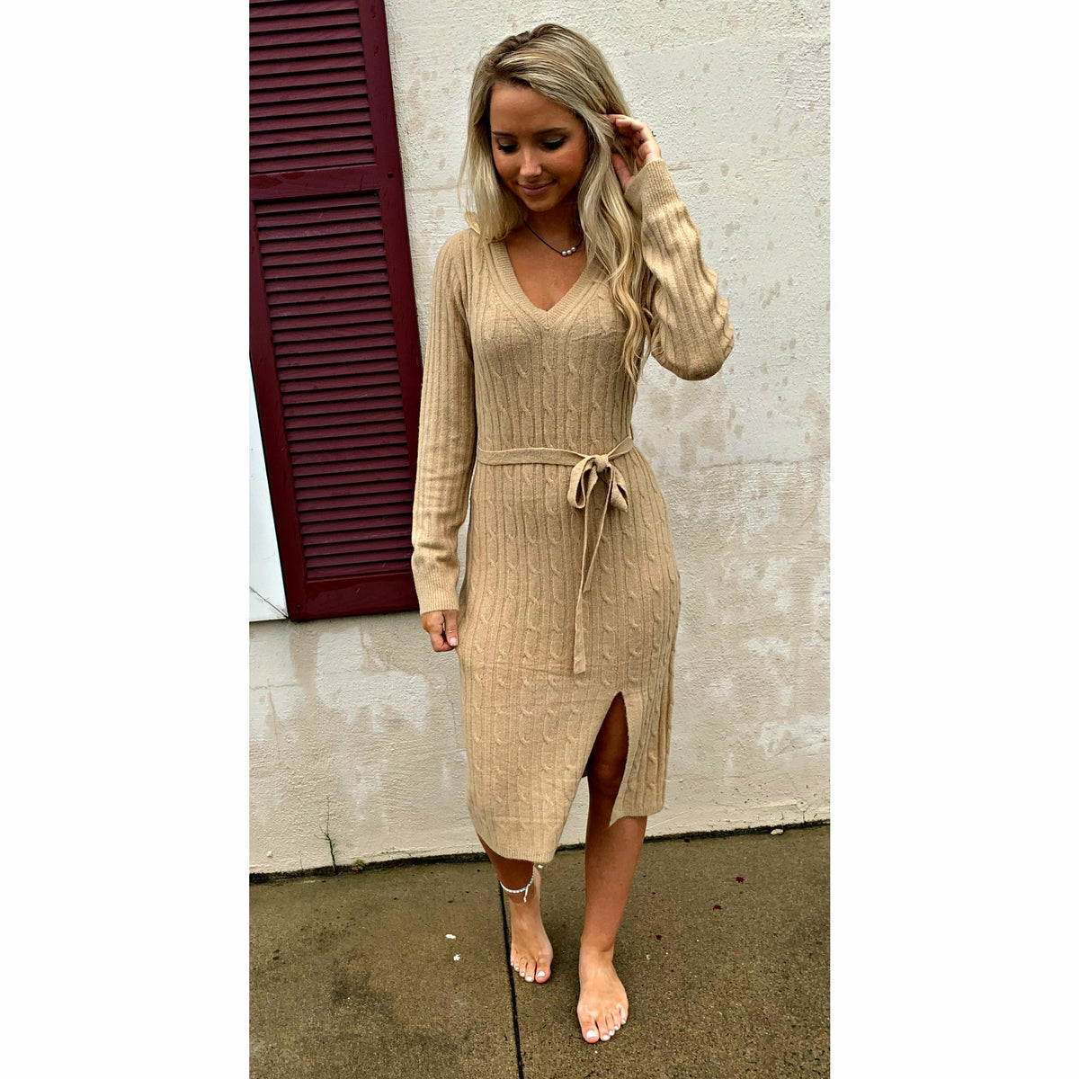Cable Knit V neck Tan Sweaterdress