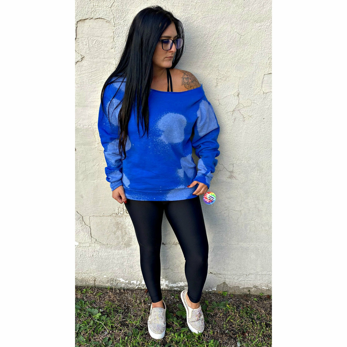 Royal Blue Distressed Boatneck Sweatshirt