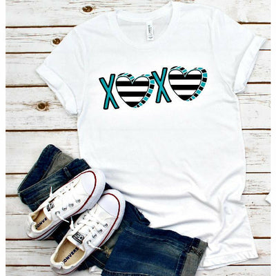 Xoxo Black/White stripe teal Tee/Raglan