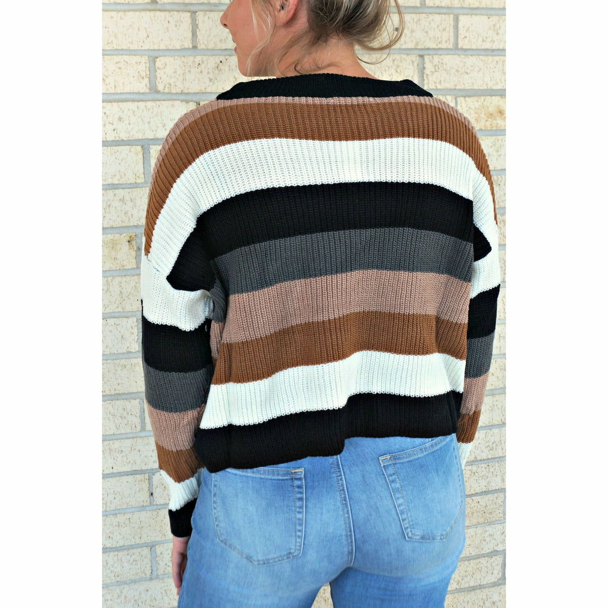 Give Thanks Stripe Sweater