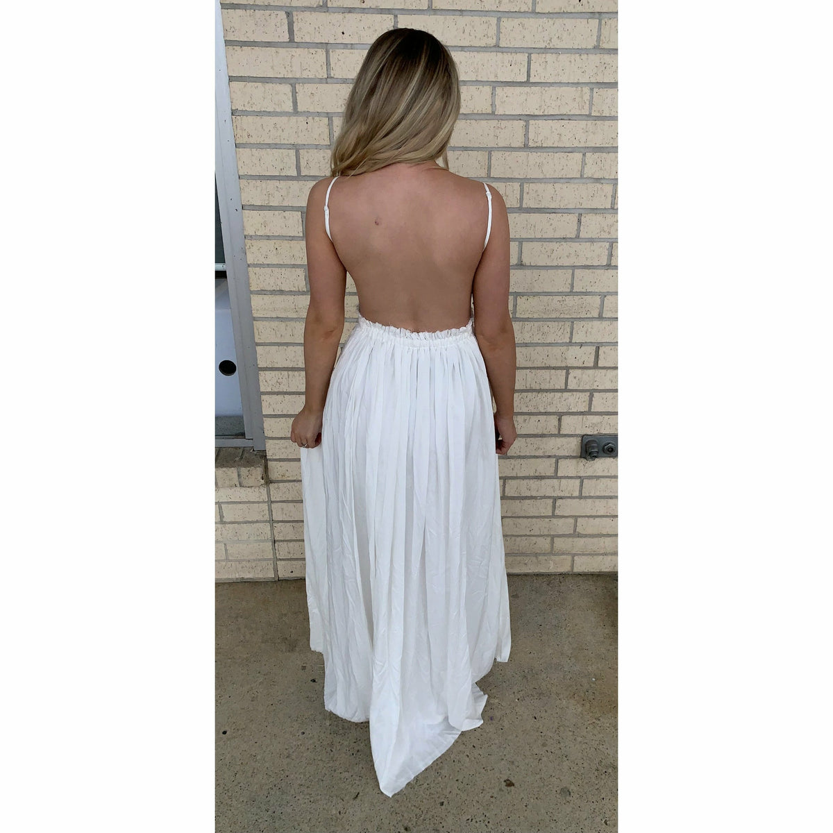Lacee Lace overly Backless Maxi Dress