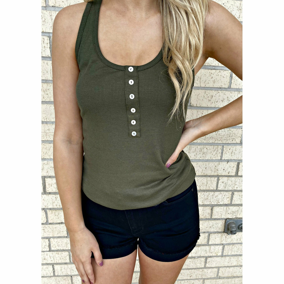 Bev Button Ribbed Tank Top ( 3 colors)