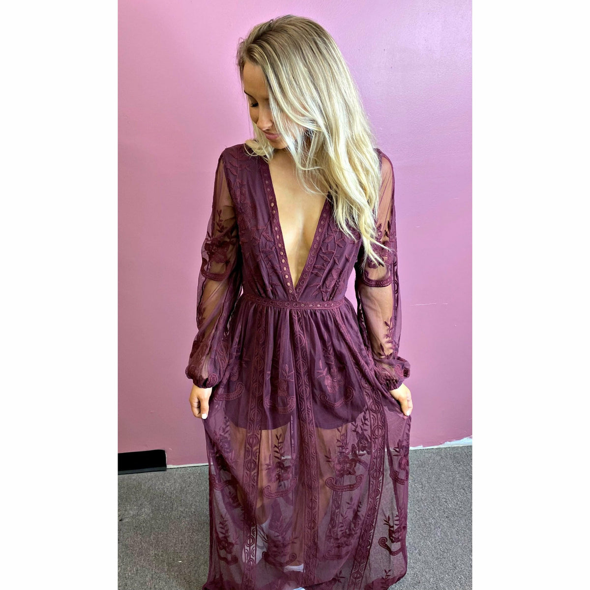 Maroon Lace Maxi Romper Dress