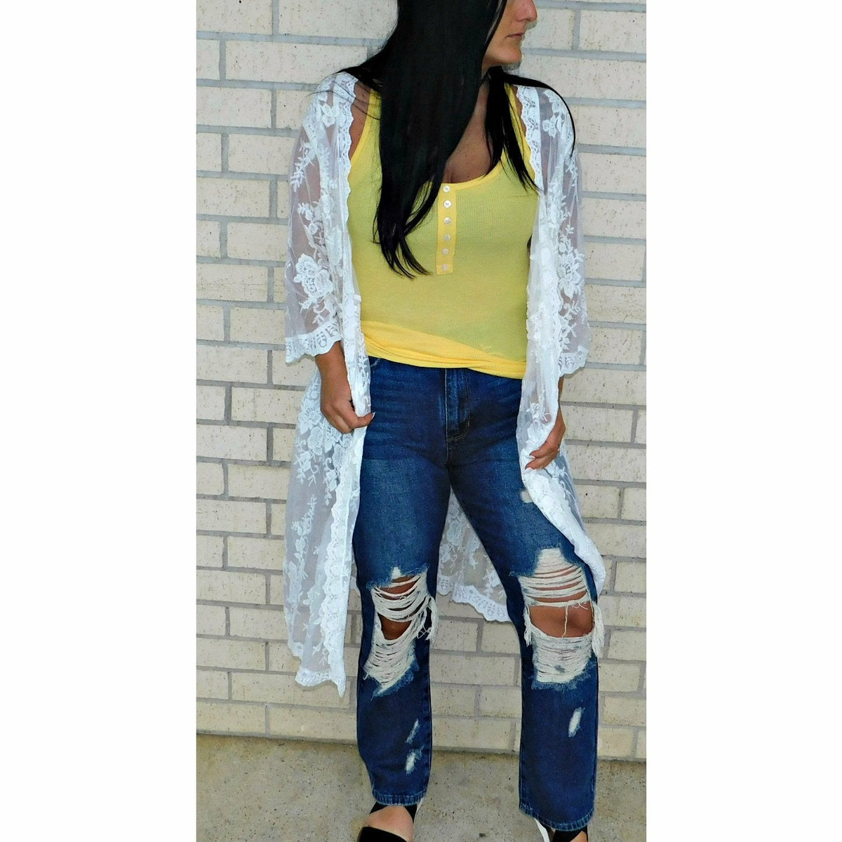 High Rise Destroyed Denim BF Fit Jean