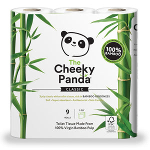 Cheeky Panda 100% Bamboo Toilet Tissue 9 Pack