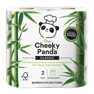 Cheeky Panda 100% bamboo kitchen towel 2 rolls - 200 sheets per pack