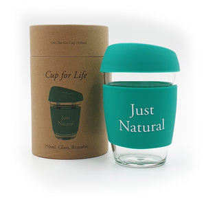 Glass Coffee Cup Green 350ml