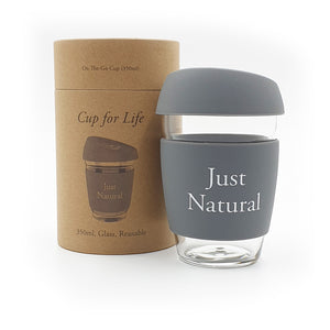 Just Natural Glass Coffee Cup Grey 350ml