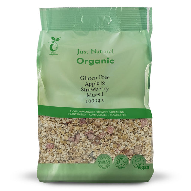 Just Natural Organic Gluten Free Apple & Strawberry Muesli 1000g