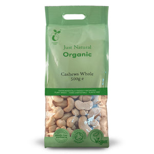 Just Natural Organic Cashews Whole 500g