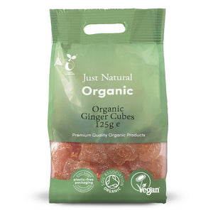 Just Natural Organic Ginger Candied Cubes 125g