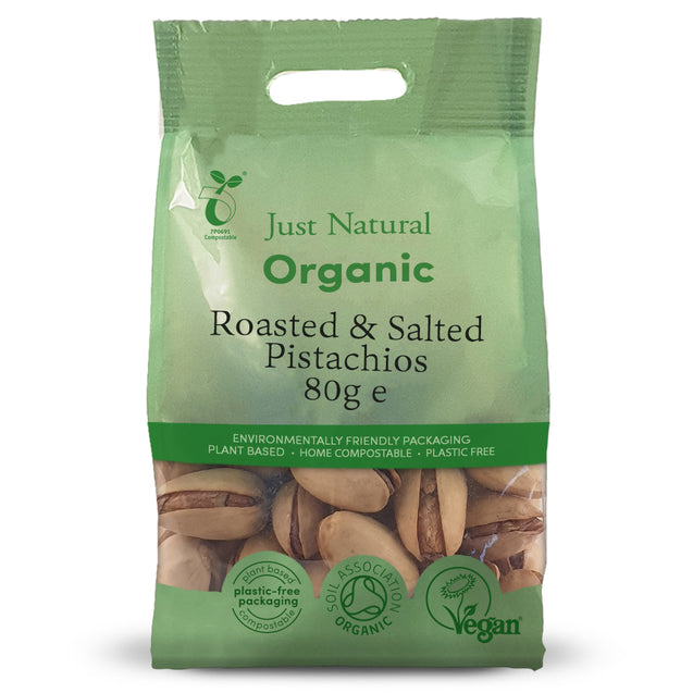 Just Natural Organic Roasted and Salted Pistachios in Shell 80g