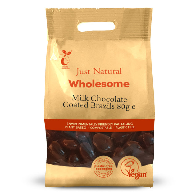 Just Natural Milk Chocolate Coated Brazils 80g