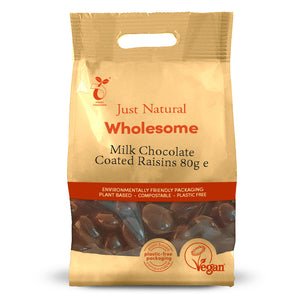Just Natural Milk Chocolate Coated Raisins 80g