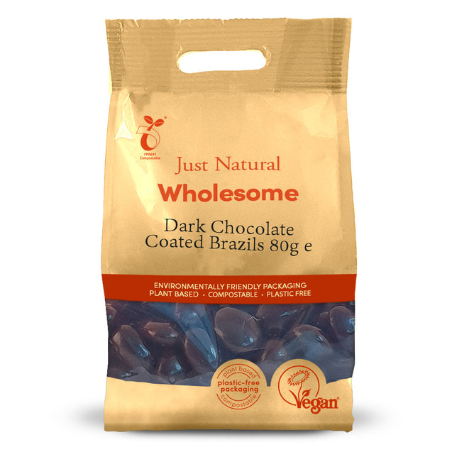 Just Natural Dark Chocolate Coated Brazils 80g