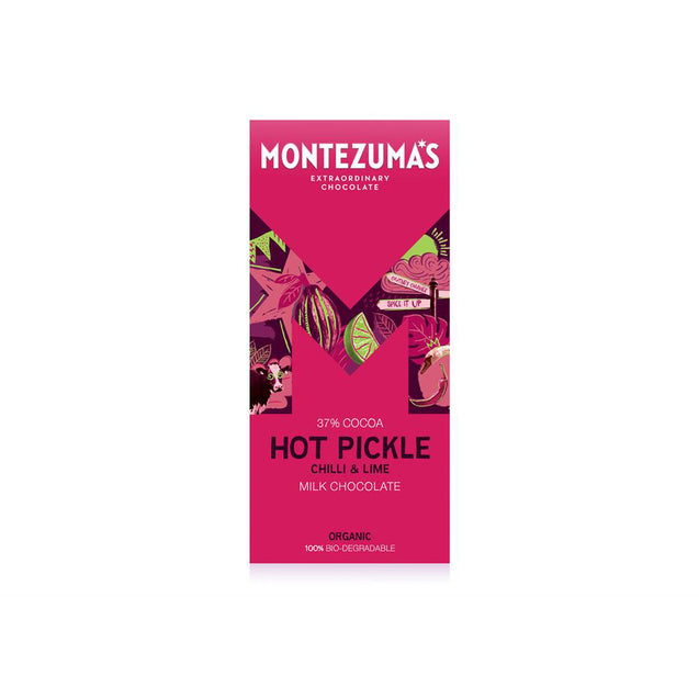 Montezumas Hot Pickle Organic Milk with Lime & Chilli 90g Bar