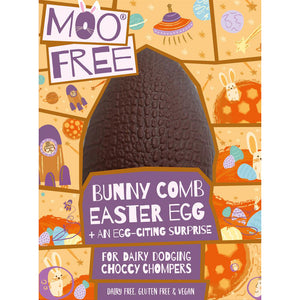 Moo Free Bunnycomb Egg with Choccy Chum Bar 95g