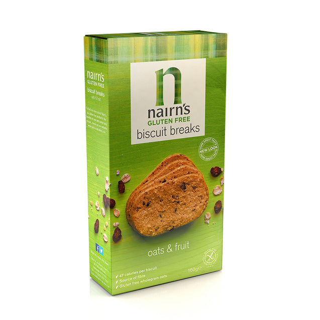 Nairns Gluten Free Oats & Fruit Biscuit Breaks 160g