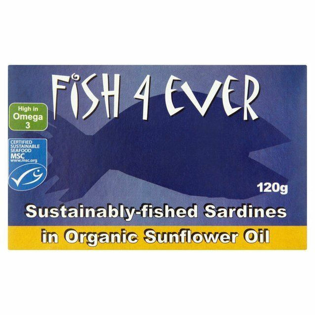 Fish4Ever Whole Sardines in Organic Sunflower Oil 120g