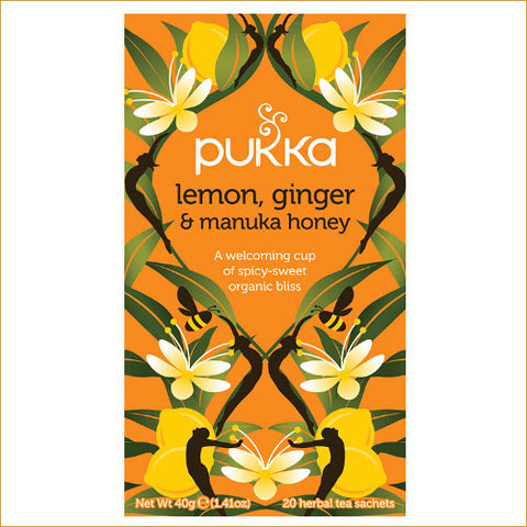 ØKOLOGISK PUKKA TE - LEMON, GINGER, MANUKA HONEY