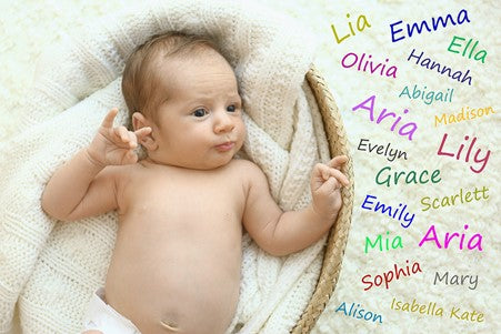 2. baby with lots of names surrounding her