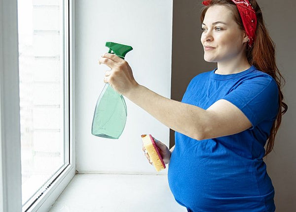 2. pregnant lady cleaning windows