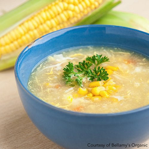 organic chicken and sweetcorn soup