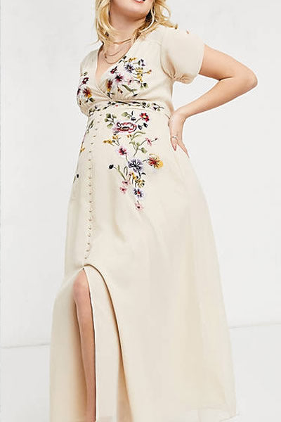 3. Hope & Ivy Maternity plunge floral embroidered midi tea dress in ivory