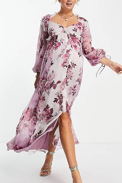 8. ASOS DESIGN Maternity exclusive mixed print midi dress with button front