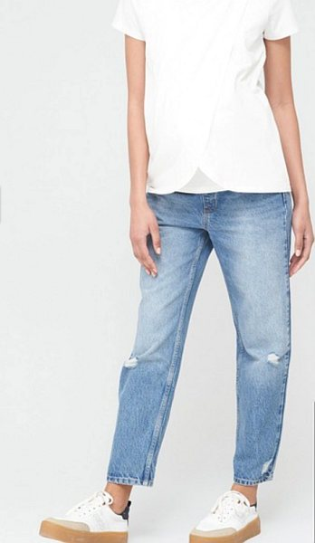 9. Very Maternity vintage rip mom jeans in mid-wash