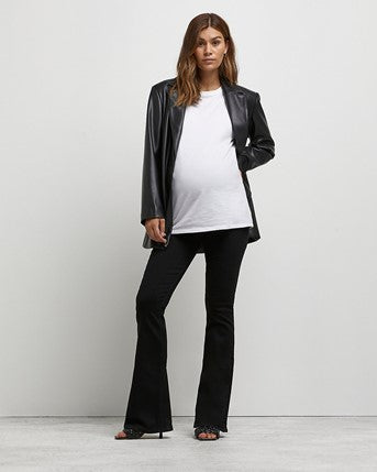Black Mid-rise Maternity Flared Jeans from River Island