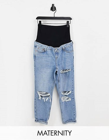 Topshop Maternity Bleach Ripped Mom Jeans from Asos