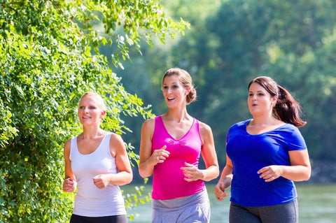 Three ladies jogging on a sunny day