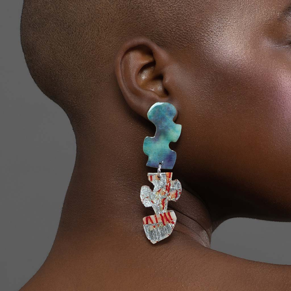 Puzzle post drop earrings in silver/orange sgraffito and sky blue silk