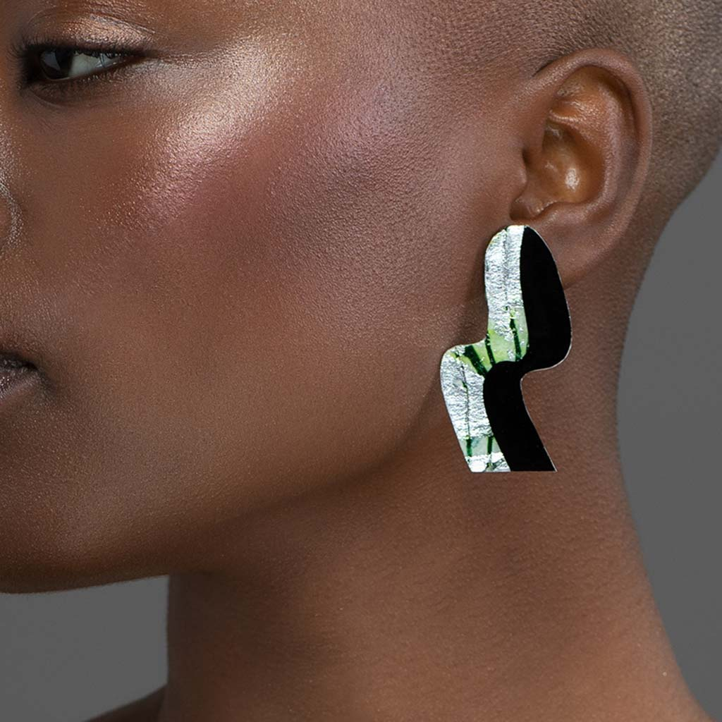 Swerve post earrings in silver/celadon sgraffito and black