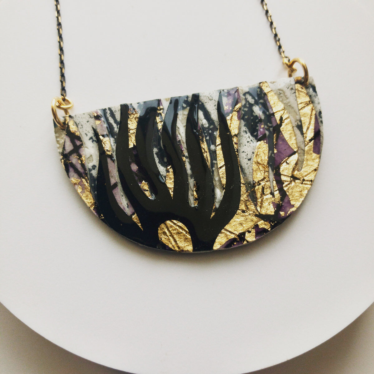 Bláth batik textile necklace in dove/black/gold/aubergine