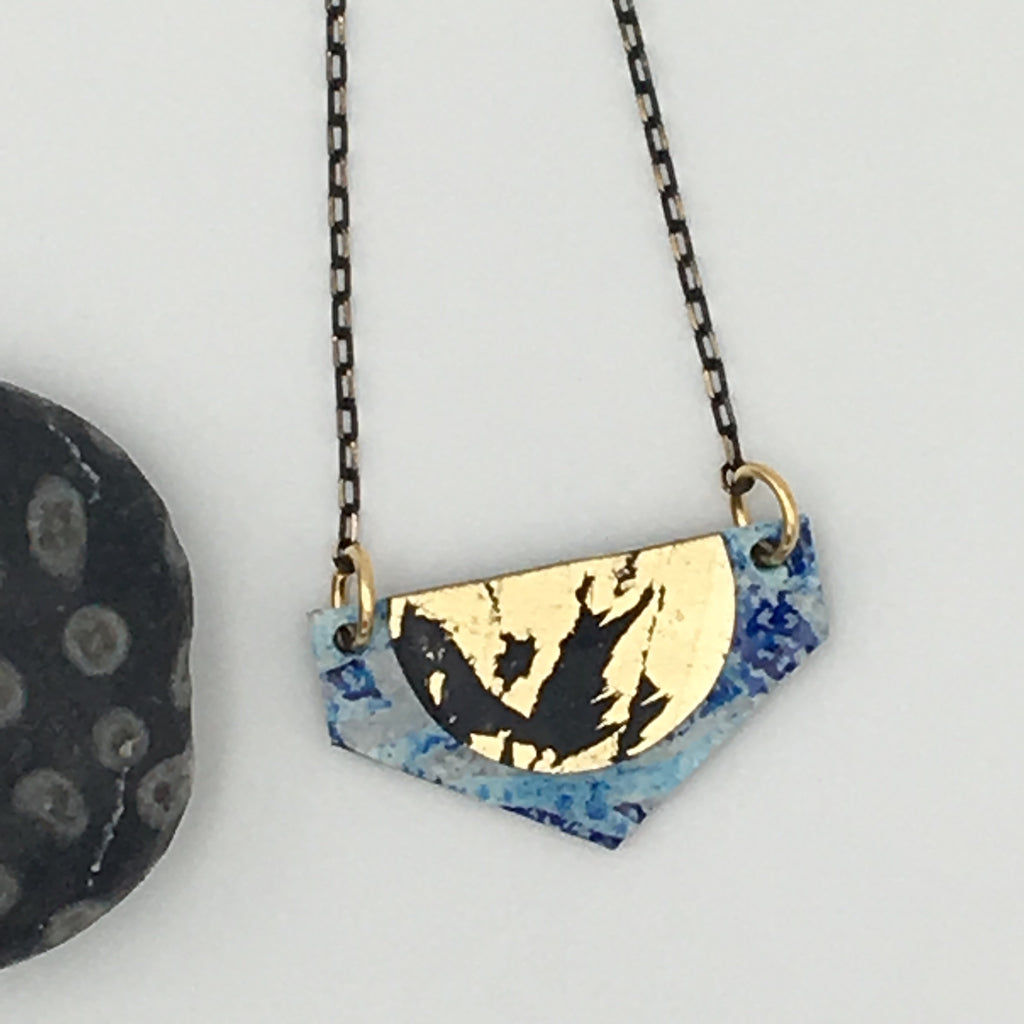 Lorette batik textile necklace in blue/gold/black