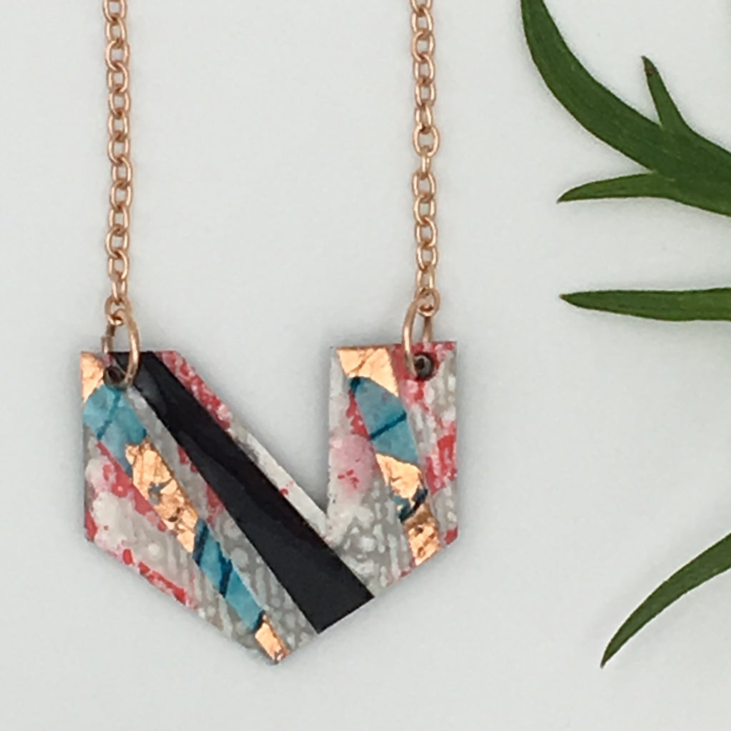 Ezrine batik textile necklace in coral/rose-gold/blue/black