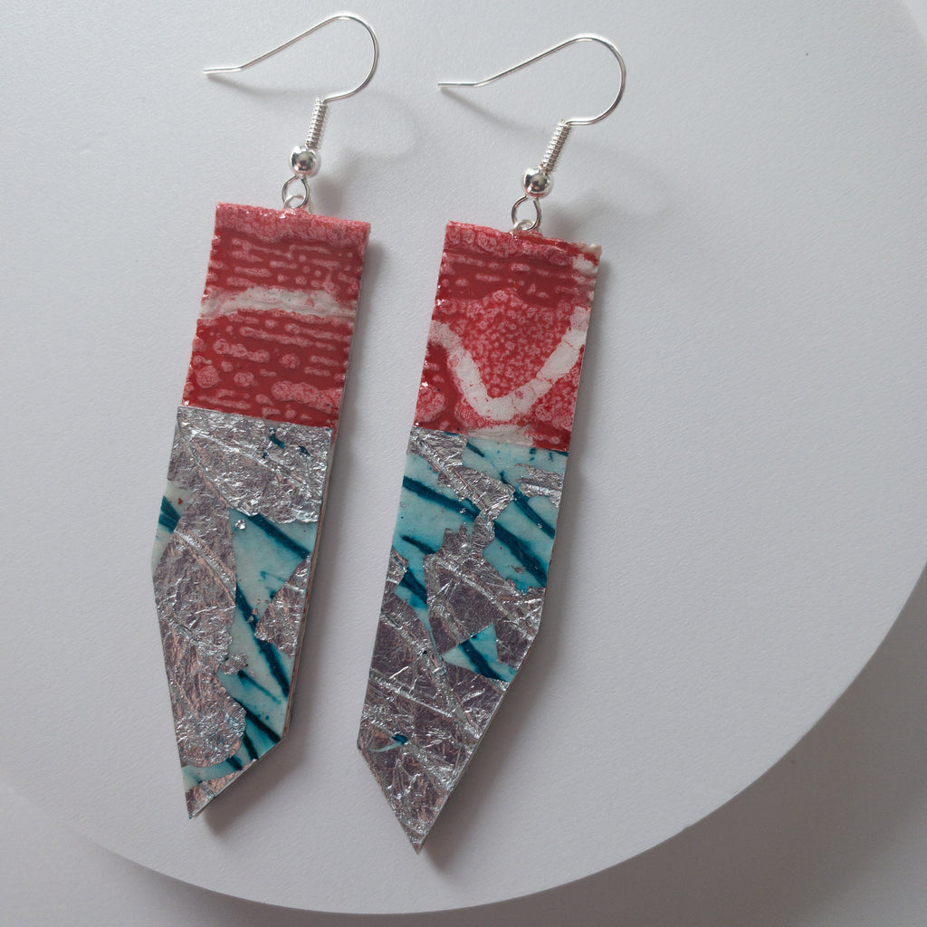 Nella Drop Textile Earrings in watermelon/silver/blue